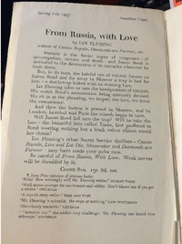 From Russia With Love | Cape | Uncorrected Proof. Letter / leaflet pasted inside front cover.