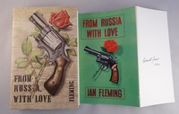 From Russia With Love | Cape | Uncorrected Proof. No proof dust jacket has been found but on the right is shown the unused artwork Kenneth Lewis designed for the book.