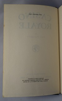 Jonathan Cape Casino Royale 1st edition. First edition copyright page