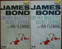 On Her Majesty's Secret Service   Pan   Hawkey   X350. The 1st,2nd & 3rd printings have blue titles, the 4th,5th and 6th have green and are a brighter white.