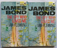 The Spy Who Loved Me | Pan | X653. Canadian 1st edition (left) has 60c printed to cover, is thicker and the red titles seem to have a shadow.